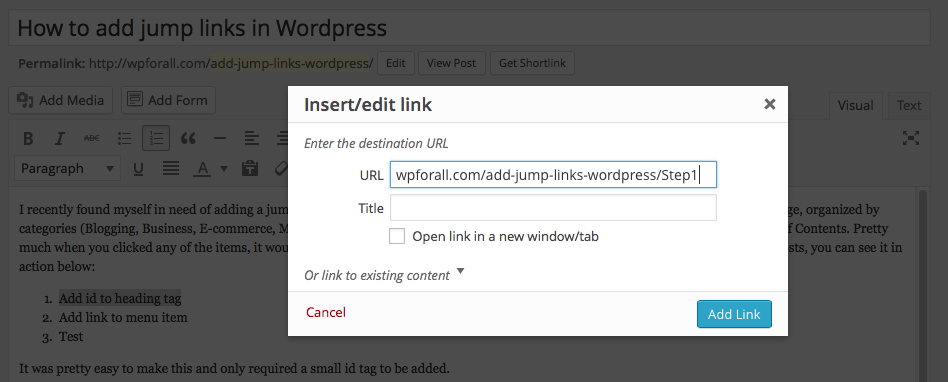 how to add jump links in wordpress